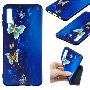 For Samsung Galaxy A7 (2018) A750 Embossment Patterned TPU Ultra-thin Casing Cover - Butterfly Pattern