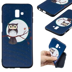 Pattern Printing Embossment Soft TPU Cell Phone Casing for Samsung Galaxy J6+ / J6 Prime / J610 - Owl on Branch