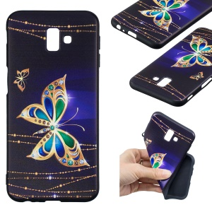 Pattern Printing Embossment Soft TPU Cell Phone Cover for Samsung Galaxy J6+ / J6 Prime / J610 - Colorized Butterfly