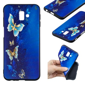 Pattern Printing Embossment Soft TPU Mobile Case for Samsung Galaxy J6+ / J6 Prime / J610 - Butterfly Pattern
