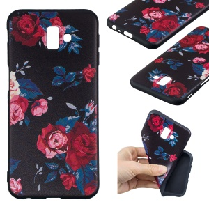 Pattern Printing Embossment Soft TPU Mobile Shell Case for Samsung Galaxy J6+ / J6 Prime / J610 - Vivid Flowers