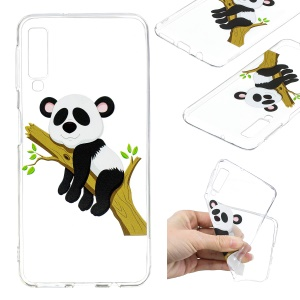 Pattern Printing TPU Case for Samsung Galaxy A7 (2018) - Panda Climbing Tree