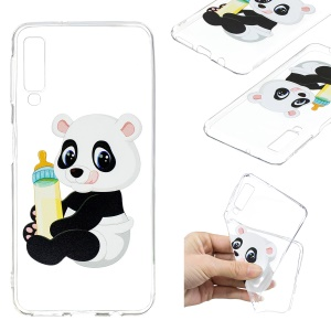 Pattern Printing TPU Back Case for Samsung Galaxy A7 (2018) - Panda Holding a Bottle