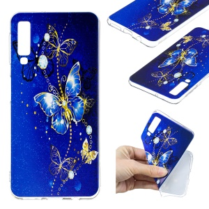 Pattern Printing TPU Cell Phone Case for Samsung Galaxy A7 (2018) - Butterfly Pattern