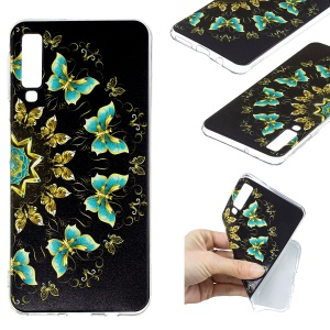 Pattern Printing TPU Protection Case for Samsung Galaxy A7 (2018) - Colorized Butterfly