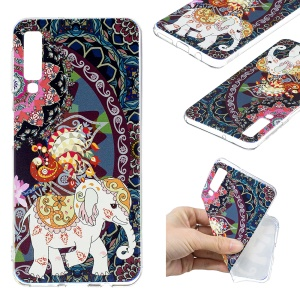 Pattern Printing TPU Phone Cover Case for Samsung Galaxy A7 (2018) - Flower and Elephant