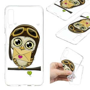Pattern Printing TPU Mobile Phone Case for Samsung Galaxy A7 (2018) - Owl Pattern