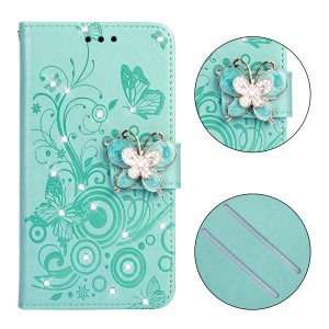 Imprint Flower Butterfly Rhinestone Leather Wallet Cover for Samsung Galaxy J4+ - Cyan