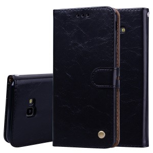 HAT PRINCE Oil Wax PU Leather Wallet Phone Case for Samsung Galaxy J4+ - Black