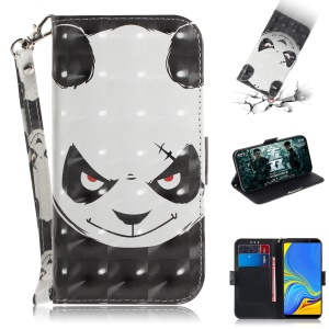 Pattern Printing PU Leather Wallet Case for Samsung Galaxy A9 (2018) / A9 Star Pro / A9s - Angry Panda