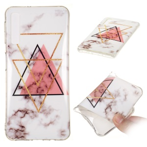 Marble Pattern IMD TPU Flexible Shell Case for Samsung Galaxy A7 (2018) - Style O