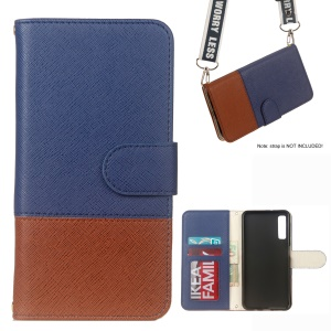 Bi-color Cross Texture Patterned Leather Wallet Phone Cover for Samsung Galaxy A7 (2018) - Blue