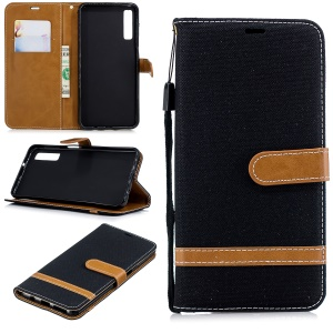 Assorted Color Jeans Cloth Wallet Stand Leather Case for Samsung Galaxy A7 (2018) - Black