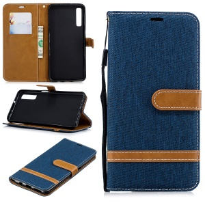 Assorted Color Jeans Cloth Leather Stand Cover with Card Slots for Samsung Galaxy A7 (2018) - Dark Blue
