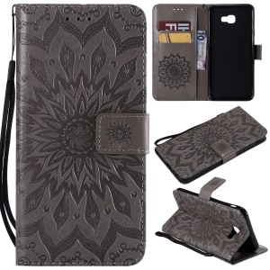 Imprint Sunflower PU Leather Wallet Magnetic Stand Casing for Samsung Galaxy J4+ J415/J4 Prime - Grey