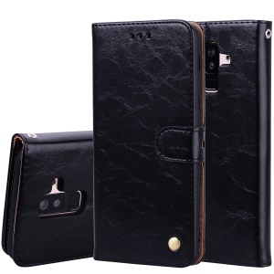 HAT PRINCE Oil Wax PU Leather Wallet Phone Case for Samsung Galaxy A6+ (2018) / A9 Star Lite - Black