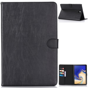 Crazy Horse Texture Retro Leather Wallet Case for Samsung Galaxy Tab S4 10.5 T830 - Black