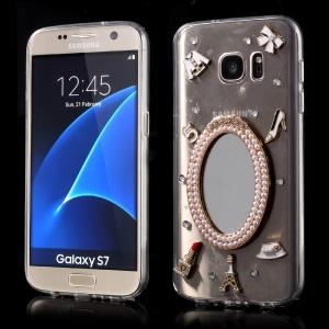 3D Makeup Mirror Pearl Rhinestone Phone Case for Samsung Galaxy S7 G930 - White