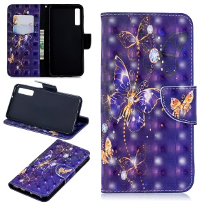 Pattern Printing Light Spot Decor Wallet Leather Flip Case with Stand for Samsung Galaxy A7 (2018) A750 - Butterfly with Rhinestone