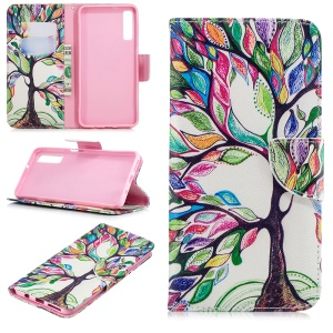 Pattern Printing PU Leather Protection Cell Phone Casing for Samsung Galaxy A7 (2018) A750 - Colorized Tree