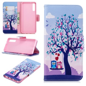 Pattern Printing Wallet Leather Cover for Samsung Galaxy A7 (2018) A750 - Owls on Swing