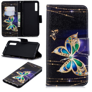 Patterned Stand Wallet Leather Phone Casing for Samsung Galaxy A7 (2018) A750 - Rhinestone Decor Butterfly