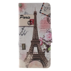 Pattern Printing Cross Texture Leather Wallet Case Cover for Samsung Galaxy J4+ - Eiffel Tower