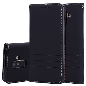 HAT PRINCE Auto-absorbed Stand Leather Case for Samsung Galaxy A6+ (2018)/A9 Star Lite - Black