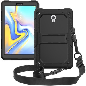 Black Back PC + TPU 3-layer Drop-proof Cover [Kickstand Shoulder Strap] for Samsung Galaxy Tab A 10.5 (2018) T590 T595 - Black