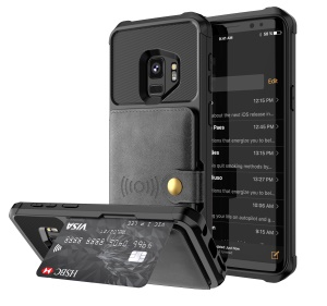 PU Leather Coated TPU Wallet Kickstand Casing with Built-in Magnetic Sheet for Samsung Galaxy S9 - Black