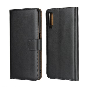 Genuine Leather Flip Case with Stand Wallet for Samsung Galaxy A7 (2018) - Black