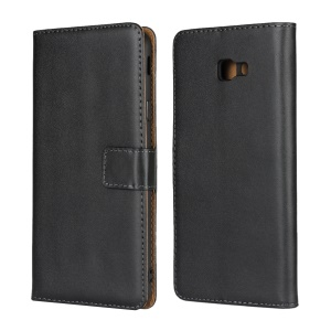 Genuine Leather Protection Phone Case with [Stand Wallet] for Samsung Galaxy J4+ - Black