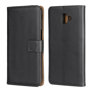 Genuine Leather Magnetic Phone Shell with [Stand Wallet] for Samsung Galaxy J6+ - Black