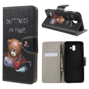 Cross Texture Patterned Wallet Leather Case for Samsung Galaxy J6+ / J6 Prime - Angry Bear