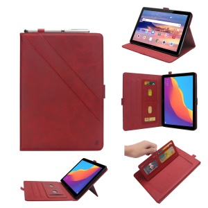 PU Leather Card Holder Cover with Stand for Huawei MediaPad T5 10 - Red