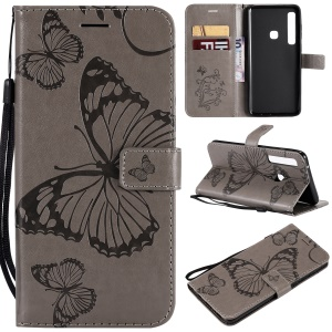 Imprinted Butterfly PU Leather Protection Case for Samsung Galaxy A9 (2018) / A9 Star Pro / A9s - Grey