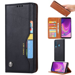 Auto-absorbed PU Leather Wallet Case for Samsung Galaxy A9 (2018)/A9 Star Pro/A9s - Black