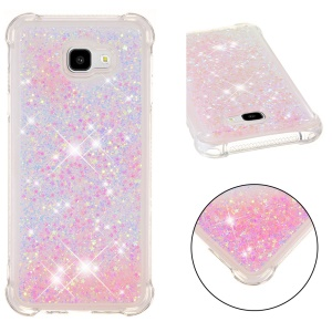 Dynamic Glitter Powder Heart Shaped Sequins Shockproof TPU Mobile Phone Case for Samsung Galaxy J4+ - Pink