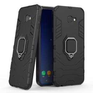 Hybrid PC TPU Finger Ring Kickstand Phone Case for Samsung Galaxy J4+ - Black
