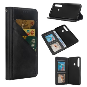 Flip Wallet Stand Leather Phone Case for Samsung Galaxy A9 (2018)/A9 Star Pro/A9s - Black