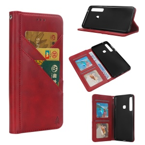 Flip Wallet Stand Leather Phone Casing for Samsung Galaxy A9 (2018)/A9 Star Pro/A9s - Red