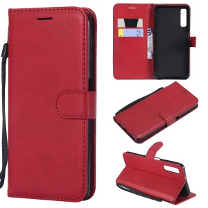 For Samsung Galaxy A7 (2018) A750 Solid Color PU Leather Protection Case - Red