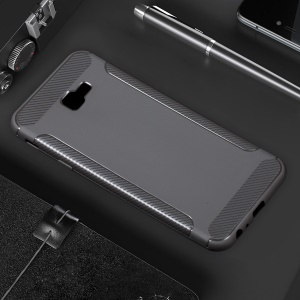 Carbon Fiber Texture Matte TPU Protection Cover for Samsung Galaxy J4 Plus - Grey