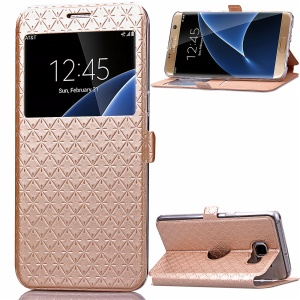 Rhombus Leather View Window Case for Samsung Galaxy S7 edge G935 - Champagne