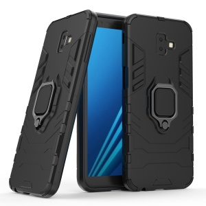 Finger Ring Kickstand PC + TPU Hybrid Protection Case for Samsung Galaxy J6+ - Black