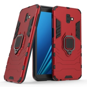Finger Ring Kickstand PC + TPU Hybrid Protector Cover for Samsung Galaxy J6+ - Red