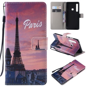 Patterned Wallet Stand Magnetic Leather Flip Mobile Casing for Samsung Galaxy A9 (2018) / A9 Star Pro / A9s - Paris