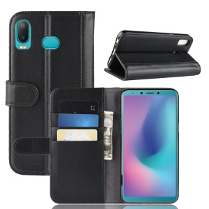 Genuine Split Leather Wallet Stand Protective Case for Samsung Galaxy A7 (2018) - Black