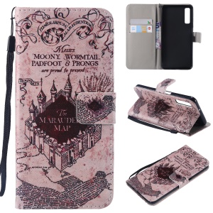 Patterned PU Leather Protection Case for Samsung Galaxy A7 (2018) A750 - Retro Castle Map