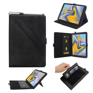 PU Leather Card Slots Tablet Case for Samsung Galaxy Tab A 8.0 (2018) T387 - Black